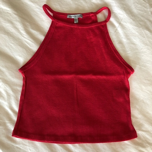 Charlotte Russe Tops - Cropped Ribbed Tank Top